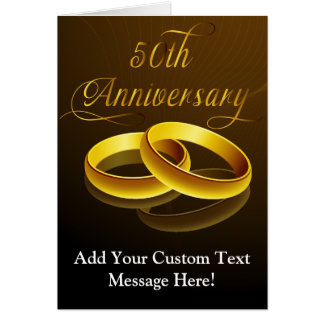 50th Anniversary | Gold Script Greeting Card
