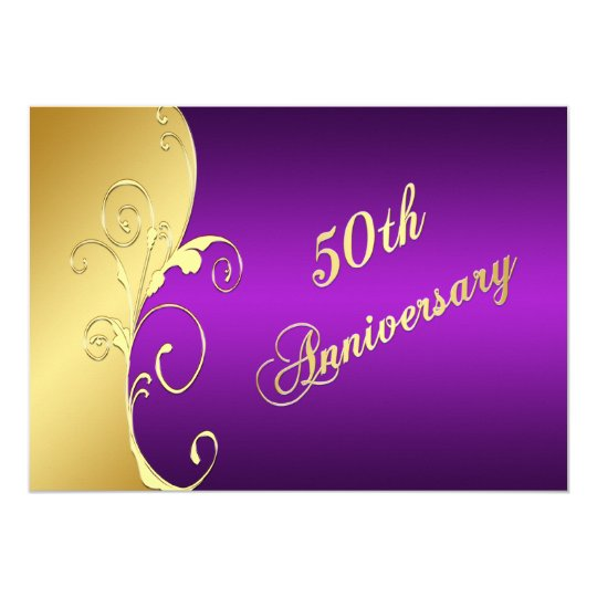 50th Anniversary Gold Scrolls with Purple Card