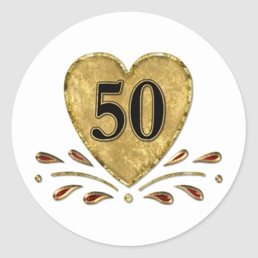 50th Anniversary - Gold Round Sticker