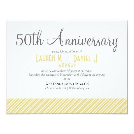 50th Anniversary Gold Striped Party Invitation