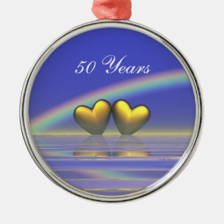 50th Anniversary Golden Hearts Christmas Ornament