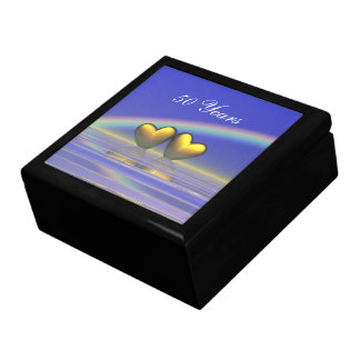 50th Anniversary Golden Hearts Large Square Gift Box
