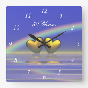 50th Anniversary Golden Hearts Square Wall Clock