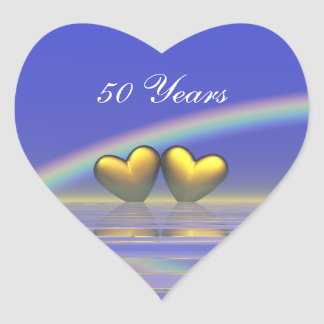 50th Anniversary Golden Hearts Heart Stickers