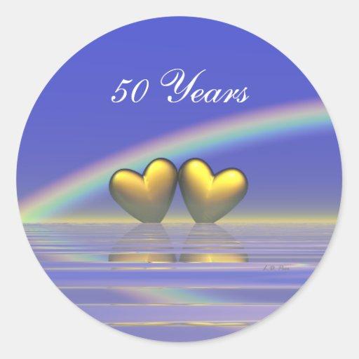 50th Anniversary Golden Hearts Round Sticker