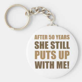 50th Anniversary Humor For Men Basic Round Button Key Ring