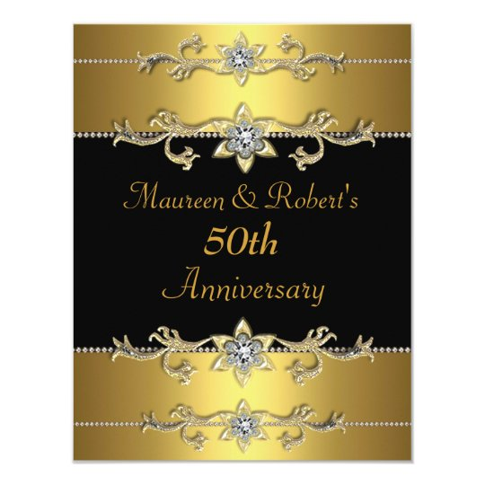 50th Anniversary Invitation Elegant Black Gold 3