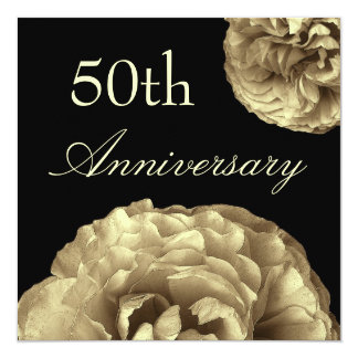 50th Anniversary Invitation - GOLD Roses