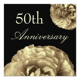 50th Anniversary Invitation Template - GOLD Roses