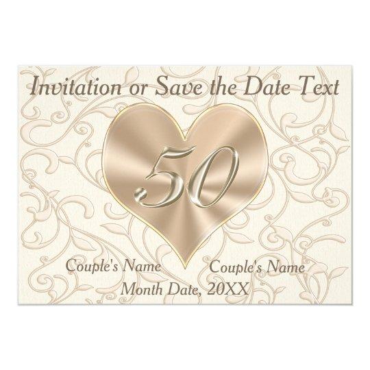 50th Anniversary Invitations, 5 Text Box Templates Card