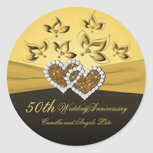 """50th Anniversary Joined Hearts 1.5"""" Round Sticker"""