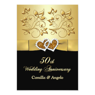 50th Anniversary Joined Hearts Wedding Invite 2