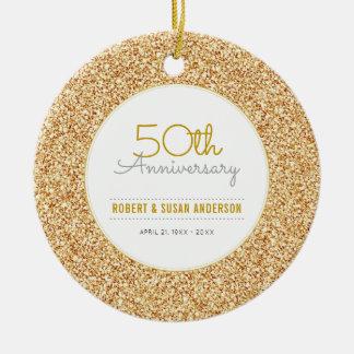 50th Anniversary Keepsake Faux Gold Glitter Christmas Ornament