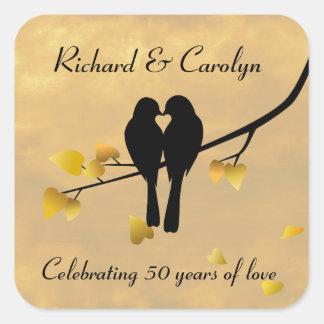 50th Anniversary Lovebirds Square Sticker