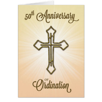 50th Anniversary of Ordination, Gold Cross Greeting Card