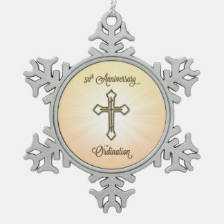 50th Anniversary of Ordination, Gold Cross on Star Snowflake Pewter Christmas Ornament