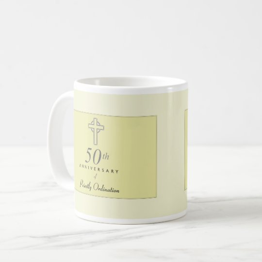 50th Anniversary of Priest with Embossed Cross Coffee