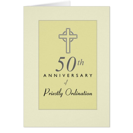 50th Anniversary of Priest with Embossed Cross, Re