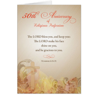 50th Anniversary of Religious Profession, Nun Gold Greeting Card