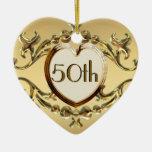 50th Anniversary Or 50th Birthday Heart Ornament
