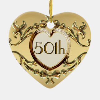 50th Anniversary Or 50th Birthday Heart Ornament