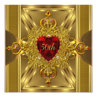 50th Anniversary Ornate Red Jewelled Heart Gold 13 Cm X 13 Cm Square Invitation Card