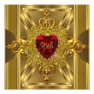 50th Anniversary Ornate Red Jewelled Heart Gold 13 Cm X 13 Cm Square Invitation Card