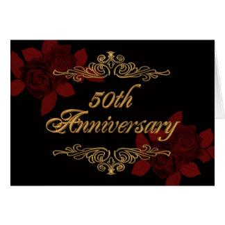 50th anniversary party card invite red black