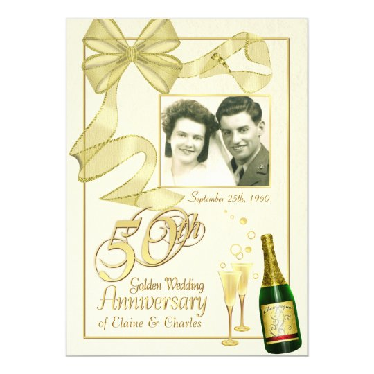 50th Anniversary Party - Fancy Photo Invitations