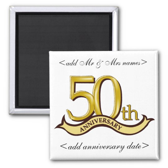 50th Anniversary Party Favours Square Magnet