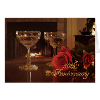 50th Anniversary Party Invitation card wine and ro