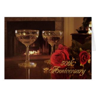 50th Anniversary Party Invitation card wine and ro