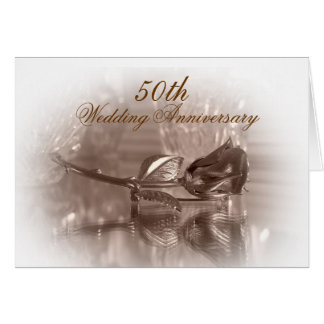 50th anniversary party invitation gold rose greeting card