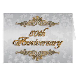 50th Anniversary party invitation golden text Cards