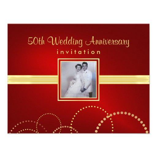 50th Anniversary Party Invitations Photo Optional