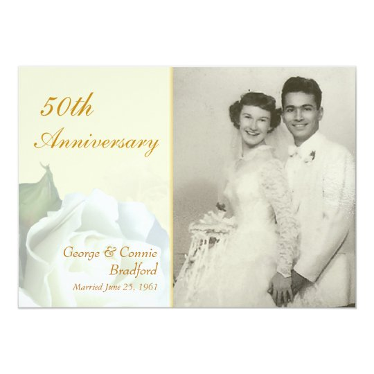 50th Anniversary Party Invitations - Romantic Rose