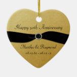 50th Anniversary Photo Gold Black Ribbon Diamonds
