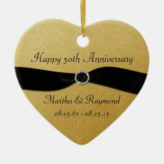 50th Anniversary Photo Gold Black Ribbon Diamonds Christmas Ornament