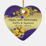50th Anniversary Photo Yellow Roses Purple Pansies Ceramic Heart Decoration