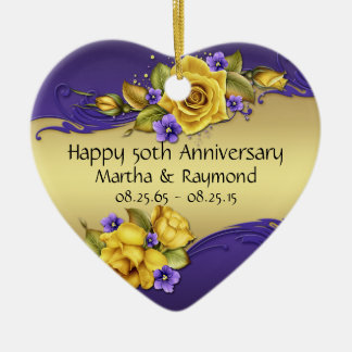 50th Anniversary Photo Yellow Roses Purple Pansies Christmas Ornament