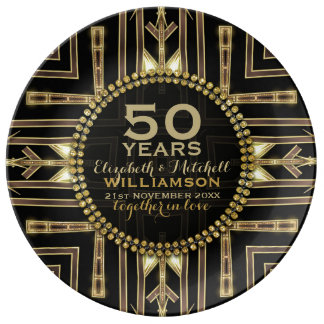50th Anniversary Plate | Black+ Gold Art Deco Porcelain Plate