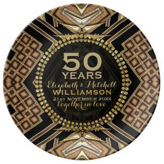 50th Anniversary Plate   Black+ Golden Art Deco Porcelain Plates