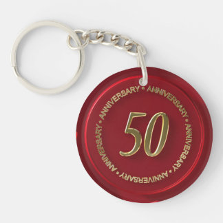 50th anniversary red wax seal Double-Sided round acrylic key ring