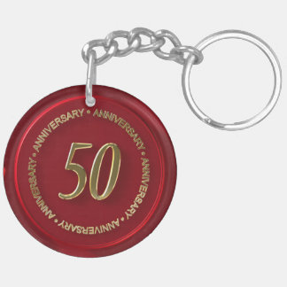 50th anniversary red wax seal Double-Sided round acrylic keychain