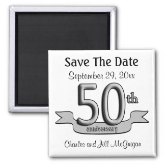 50th Anniversary Save The Date Party Favors Square Magnet