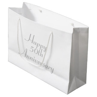 50th Anniversary Silver Text Template Gift Bag