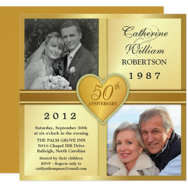 50th anniversary sparkle heart photo invitations zazzle