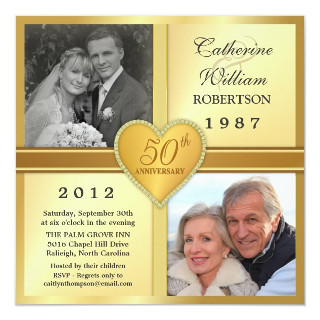 50th Anniversary Sparkle Heart Photo Invitations | Zazzle