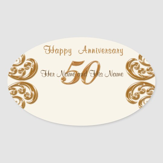 50th Anniversary Stickers, Hand Write Guest Names Oval