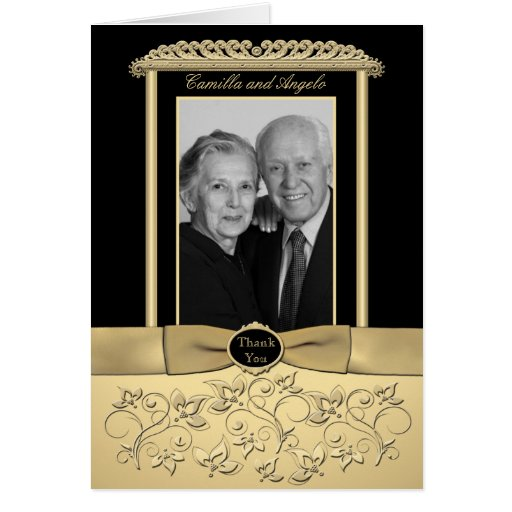 50th Anniversary Thank You Card with Photo Insert Greeting Card